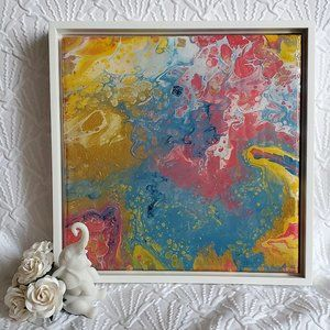 Abstract Acrylic Pour Painting, 10x10, Original